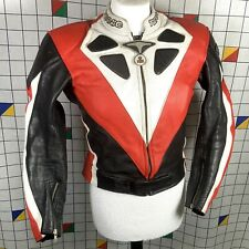Teknic Black Red White Leather Motorcycle Biker Jacket Size XS UK 40 EU 50