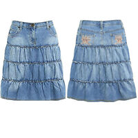 Ladies A Line Denim Skirt Summer Layered Jeans Light Washed