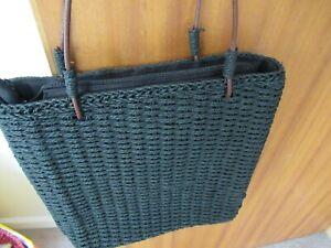BNWOT Black Straw Effect Zip Top Shoulder Bag