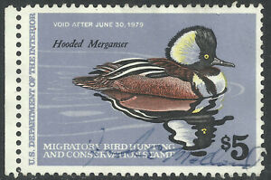 RW45, The $5.00 1978 Duck Stamp Featuring the Hooded Merganser - Used