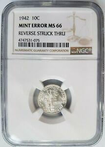 1942 Mercury Silver Dime NGC MS 66 Struck Thru Strike Through Mint Error Coin