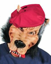 Big Bad Wolf Latex Mask Party Animal Red Beret Adult Halloween Costume Accessory