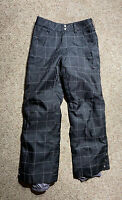 WOMENS BURTON DRY RIDE BLACK PLAID SKI SNOW BOARD PANTS SIZE XS