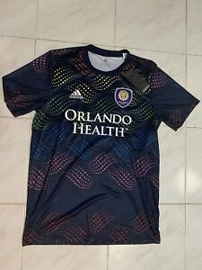 New Adidas MLS Orlando City Pride Pre Match Shirt FK5123 Men's Size Medium Lgbt
