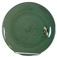 Pottery Barn salad plate BEE pattern green embossed yellow bumble bee 8 1/2""