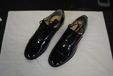 Frederico Leone Black Oxford Patent Leather Lace-Up Tuxedo Shoes Size 12 Wide