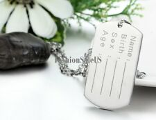 Polished Stainless Steel Military Army Dog Tag Pendant Men's ID Necklace Chain