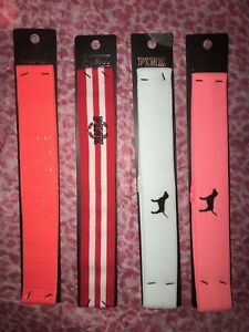 NWT Victoria's Secret PINK headband Coral Green Red Striped Pink