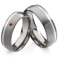 Partnerringe Eheringe aus Titan und 925 Silber mit Zirkonia Ringe Gravur HZR13