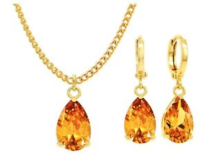 Yellow gold plated drop necklace earrings citrine colored gemstones jewelry box