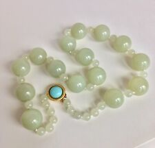 """SUPERIOR OLD Mutton Fat nephrite Hetian 20MM Jade Beads Necklace 23.5"""" 227 Gram"""