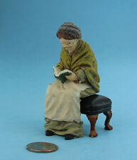 Dollhouse Miniature 1:12 Scale Seated Reading Grandmother Doll #SDP311