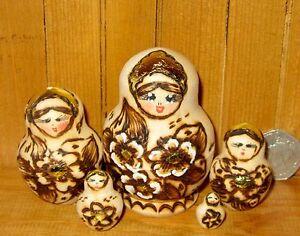 Pyrography Matryoshka Russian Small Nesting Dolls Traditional 5 Matt Babushka