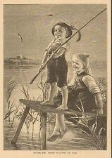 Children, Little Boy Catches Fish, Big Sister, German, 1887 Antique Art Print,