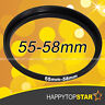 55mm to 58mm 55-58 mm Male to Female Step-Up Lens Filter Hood Cover Ring Adapter