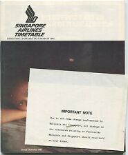 SINGAPORE AIRLINES TIMETABLE JANUARY-MARCH 1982