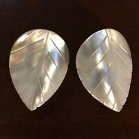Vintage Mother of Pearl Carved Earrings Leaf Leaves MOP Shell Pierced Ears Gift!