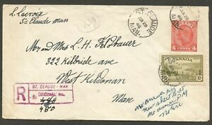 1948 Registered Cover 14c Peace Uprated PSE RPO CDS St Claude Man to Winnipeg