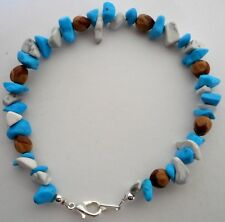 Navajo Indian Ghost Cedar Beads Juniper Berry White & Blue Turquoise Bracelet