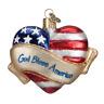 Old World Christmas GOD BLESS AMERICA Heart (30037)N Glass Ornament w/ OWC Box