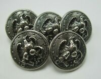 "Lot 5 Vintage Military Style Eagle & Anchor Silver Buttons 7/8"" Dia. 13 Star T5"