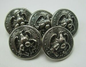 """Lot 5 Vintage Military Style Eagle & Anchor Silver Buttons 7/8"""" Dia. 13 Star T5"""