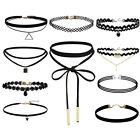 10Set Gothic Choker samt Tattoo Spitzen Halsband Collier Kopfband Halskette RW