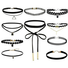 Lot of 10 Choker Necklace for Women Girl Black Velvet Stretch Gothic Tattoo^-^