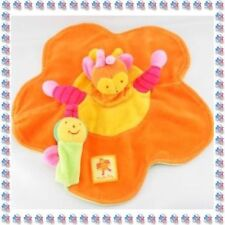 H - Doudou Semi Plat Marionnette Orange Fleur Abeille Louna Moulin Roty