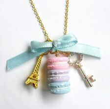 Pastel Macaron Trio Eiffel Tower Necklace, Gold Plated, Cute And Kawaii :D