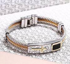 Pulsera de cadena para Hombre moda cruz de Acero Inoxidable Regalo de lujo