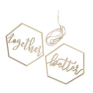2pcs Hexagon   Chair Signs Wedding Hanging Sign Decorative