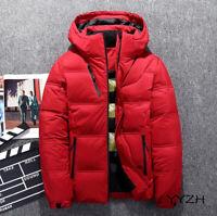 Mens Hooded Puff White Duck Down Coat Jacket Zip Winter Warm Down Parka Slim Fit