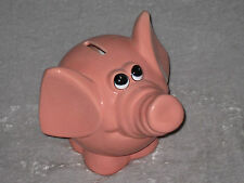 Cute Pink Elephant Piggy Bank Money Save Ceramic Mint Condition