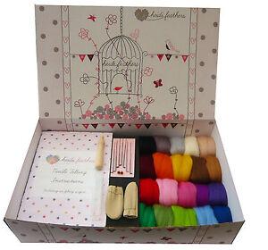 Heidifeathers® Boxed Needle Felting Starter Kit - Merino Wool, Needles, Mat...