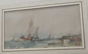 John D Bell-Fishing Boats Off The Coast-Framed Watercolour Signed And Dated 1875