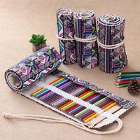 1x 48/72 Holes Canvas Wrap Roll Up Pencil Case Pen Bags Holder Storage Pouch