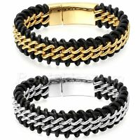 Men's Heavy Braided Genuine Leather Stainless Steel Buckle Curb Chain Bracelet