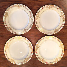SET 4 DAVIS COLLAMORE SALAD LUNCHEON PLATES ROSES & RAISED GOLD ENCRUSTED CREAM