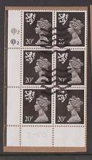 GB 1989 SG64 Scotland Questa 20p Corner Block of 6 with Plate Logo 2 Used