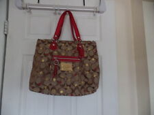 COACH  POPPY GORGEOUS LARGE HANDBAG/TOTE  16289 BROWN WITH RED STRAPS MINT