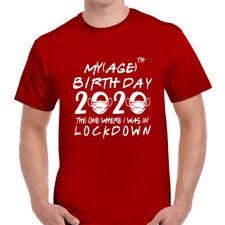 Lockdown Birthday Quarantine Age 2020 Funny Mens T-Shirt Tee Top Tshirt Red