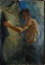 Russian Ukrainian Oil Painting male Portrait nude man figure Impressionism