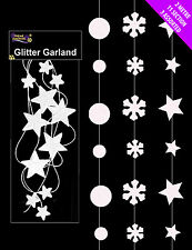 SET 3 CHRISTMAS DECORATIONS HANGING GARLANDS SNOWFLAKES STARS SNOWBALLS 6 METRES