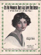 It's No Wonder They All Love The Irish 1923 Sheet Music