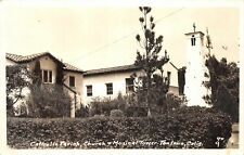G77/ Fontana California Postcard RPPC c1940s Catholic Church Music Tower