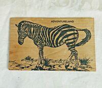 Vintage Wooden Postcard Zeebra Adventureland Disneyland 1991 Not Posted