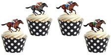 HORSE RACING THEME  Edible cake party toppers x 16 STAND UPS 