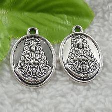 56pcs tibet silver oval Buddha charms 31x22mm B-4605 Free Ship