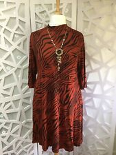 BNWT Yours Rust Tiger Print Turtle Neck Dress Plus Size 30 - 32 RRP £26.99